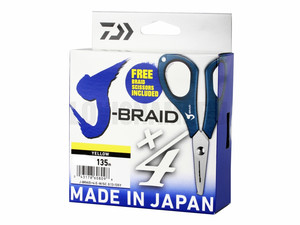 Фото Шнур Daiwa J-BRAID X4E-W/SC 0.15MM-135M yellow + ножницы