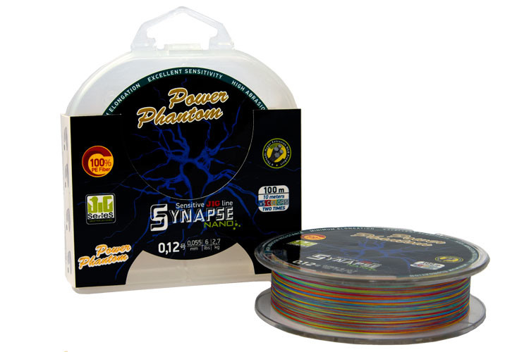 Фотография Шнур Power Phantom Synapse NANO PE 100m, multicolor #0,4 (5,1кг), 0,1m